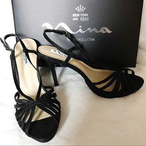Nina | Women's Black Fenix YF Dress Heels 7.5 M
